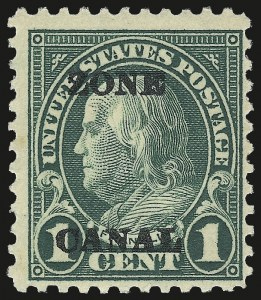 "Sale Number 969, Lot Number 707, Canal Zone (70-81)1924, 1c Deep Green, Ty. ""A"" Ovpt., Second Printing, ""Zone Canal"" Error (71d), 1924, 1c Deep Green, Ty. ""A"" Ovpt., Second Printing, ""Zone Canal"" Error (71d)"