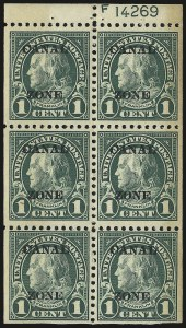 "Sale Number 969, Lot Number 708, Canal Zone (70-81)1924, 1c Deep Green, Ty. ""A"" Ovpt., Booklet Pane of Six (71e), 1924, 1c Deep Green, Ty. ""A"" Ovpt., Booklet Pane of Six (71e)"