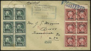 "Sale Number 969, Lot Number 713, Canal Zone (70-81)1924, 1c Deep Green, Ty. ""A"" Ovpt, 2c Carmine, Ty. ""B"" Ovpts., Booklet Panes of Six (71e, 84d), 1924, 1c Deep Green, Ty. ""A"" Ovpt, 2c Carmine, Ty. ""B"" Ovpts., Booklet Panes of Six (71e, 84d)"