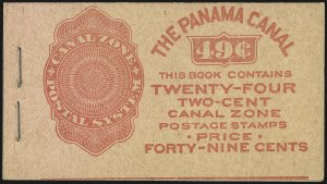 "Sale Number 969, Lot Number 721, Canal Zone (70-81)1924, 2c Carmine, Ty. ""A"" Ovpt., First Printing, Booklet Pane of Six (73a), 1924, 2c Carmine, Ty. ""A"" Ovpt., First Printing, Booklet Pane of Six (73a)"