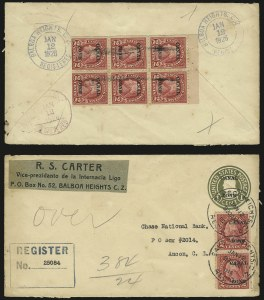 "Sale Number 969, Lot Number 722, Canal Zone (70-81)1924, 2c Carmine, Ty. ""A"" Ovpt., Booklet Pane of Six (73a), 1924, 2c Carmine, Ty. ""A"" Ovpt., Booklet Pane of Six (73a)"