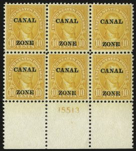 "Sale Number 969, Lot Number 728, Canal Zone (70-81)1924, 10c Orange, Ty. ""A"" Ovpt. (75), 1924, 10c Orange, Ty. ""A"" Ovpt. (75)"