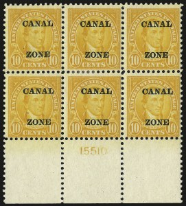 "Sale Number 969, Lot Number 729, Canal Zone (70-81)1924, 10c Orange, Ty. ""A"" Ovpt. (75), 1924, 10c Orange, Ty. ""A"" Ovpt. (75)"