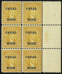 "Sale Number 969, Lot Number 730, Canal Zone (70-81)1924, 10c Orange, Ty. ""A"" Ovpt. (75), 1924, 10c Orange, Ty. ""A"" Ovpt. (75)"