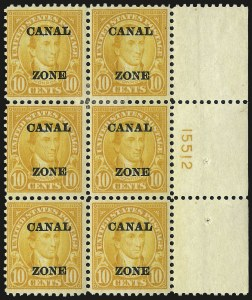 "Sale Number 969, Lot Number 731, Canal Zone (70-81)1924, 10c Orange, Ty. ""A"" Ovpt. (75), 1924, 10c Orange, Ty. ""A"" Ovpt. (75)"
