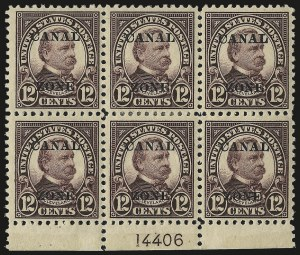 "Sale Number 969, Lot Number 733, Canal Zone (70-81)1924, 12c Brown Violet, Ty. ""A"" Ovpt. (76), 1924, 12c Brown Violet, Ty. ""A"" Ovpt. (76)"