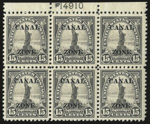 "Sale Number 969, Lot Number 734, Canal Zone (70-81)1924, 15c Gray, Ty. ""A"" Ovpt. (78), 1924, 15c Gray, Ty. ""A"" Ovpt. (78)"