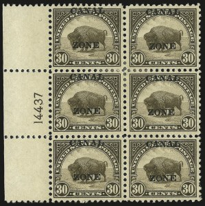"Sale Number 969, Lot Number 739, Canal Zone (70-81)1924, 30c Olive Brown, Ty. ""A"" Ovpt. (79), 1924, 30c Olive Brown, Ty. ""A"" Ovpt. (79)"
