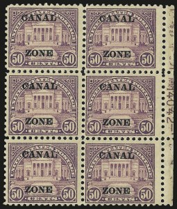 "Sale Number 969, Lot Number 744, Canal Zone (70-81)1924, 50c Lilac, Ty. ""A"" Ovpt. (80), 1924, 50c Lilac, Ty. ""A"" Ovpt. (80)"