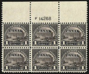 "Sale Number 969, Lot Number 745, Canal Zone (70-81)1924, $1.00 Violet Brown, Ty. ""A"" Ovpt. (81), 1924, $1.00 Violet Brown, Ty. ""A"" Ovpt. (81)"