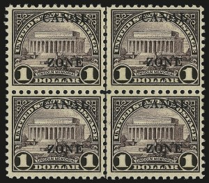 "Sale Number 969, Lot Number 792, Canal Zone (84-99)1925, $1.00 Violet Brown, Ty. ""B"" Ovpt. (95), 1925, $1.00 Violet Brown, Ty. ""B"" Ovpt. (95)"