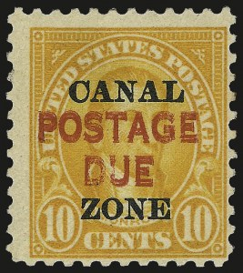 "Sale Number 969, Lot Number 835, Canal Zone Postage Dues1925, 10c Orange, ""Postage Due"" Double (J17a), 1925, 10c Orange, ""Postage Due"" Double (J17a)"