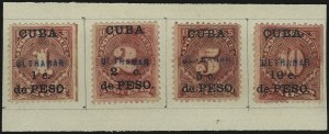 "Sale Number 969, Lot Number 926, Cuba (Postage Dues, Group Lots)1899, 1c-10c Postage Due, ""Ultramar"" (Overseas) Specimen Ovpts. (J1S var-J4S var), 1899, 1c-10c Postage Due, ""Ultramar"" (Overseas) Specimen Ovpts. (J1S var-J4S var)"