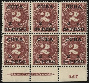 Sale Number 969, Lot Number 930, Cuba (Postage Dues, Group Lots)1899, 2c on 2c Deep Claret, Postage Due (J2), 1899, 2c on 2c Deep Claret, Postage Due (J2)