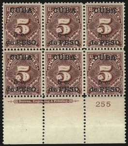 Sale Number 969, Lot Number 932, Cuba (Postage Dues, Group Lots)1899, 5c on 5c Deep Claret, Postage Due (J3), 1899, 5c on 5c Deep Claret, Postage Due (J3)