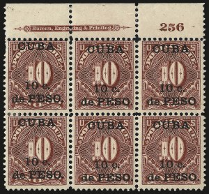 Sale Number 969, Lot Number 933, Cuba (Postage Dues, Group Lots)1899, 10c on 10c Deep Claret, Postage Due (J4), 1899, 10c on 10c Deep Claret, Postage Due (J4)