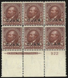 Sale Number 969, Lot Number 984, Guam (4-7)1899, 6c Lake (6), 1899, 6c Lake (6)