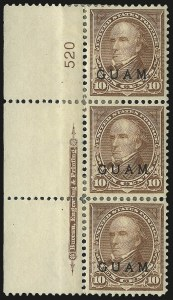Sale Number 969, Lot Number 995, Guam (8-12)1899, 10c Brown, Ty. I (8), 1899, 10c Brown, Ty. I (8)