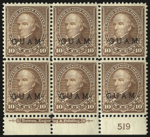 Sale Number 969, Lot Number 996, Guam (8-12)1899, 10c Brown, Ty. I (8), 1899, 10c Brown, Ty. I (8)
