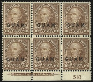 Sale Number 969, Lot Number 997, Guam (8-12)1899, 10c Brown, Ty. I (8), 1899, 10c Brown, Ty. I (8)