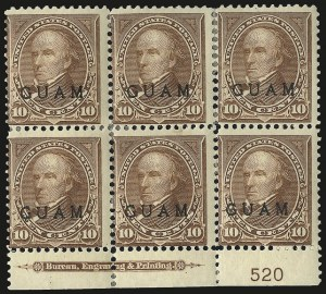 Sale Number 969, Lot Number 999, Guam (8-12)1899, 10c Brown, Ty. I (8), 1899, 10c Brown, Ty. I (8)