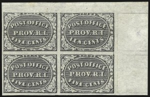 Sale Number 972, Lot Number 3009, Postmasters` ProvisionalsProvidence R.I., 5c & 10c Gray Black, Se-Tenant (10X2a), Providence R.I., 5c & 10c Gray Black, Se-Tenant (10X2a)