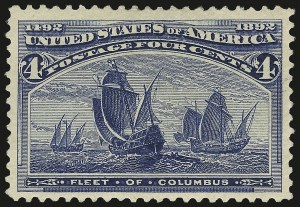 Sale Number 972, Lot Number 3225, 1893 Columbian Issue (Scott 230-245)4c Columbian, Error of Color (233a), 4c Columbian, Error of Color (233a)