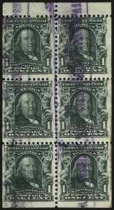 Sale Number 973, Lot Number 182, 1902-08 Issues1c Blue Green, Booklet Pane of Six (300b), 1c Blue Green, Booklet Pane of Six (300b)