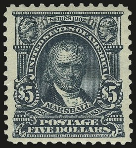 Sale Number 973, Lot Number 186, 1902-08 Issues$5.00 Dark Green (313), $5.00 Dark Green (313)