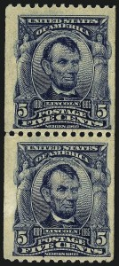 Sale Number 973, Lot Number 187, 1902-08 Issues5c Blue, Vertical Coil (317), 5c Blue, Vertical Coil (317)