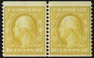 Sale Number 973, Lot Number 190, 1902-08 Issues10c Yellow, Coil (356), 10c Yellow, Coil (356)