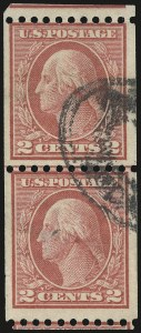 Sale Number 973, Lot Number 207, Later Issues (Scott 389 thru 480)2c Red, Ty. I, Coil (449), 2c Red, Ty. I, Coil (449)