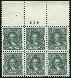 Sale Number 973, Lot Number 213, Later Issues (Scott 389 thru 480)$5.00 Light Green (480), $5.00 Light Green (480)