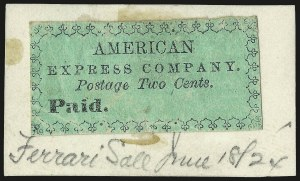 Sale Number 973, Lot Number 280, Local PostsAmerican Express Co., New York N.Y., 2c Black on Green (4L1), American Express Co., New York N.Y., 2c Black on Green (4L1)