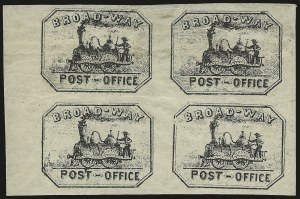 Sale Number 973, Lot Number 284, Local PostsBroadway Post Office, New York N.Y., (1c) Black (26L2), Broadway Post Office, New York N.Y., (1c) Black (26L2)