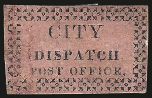 Sale Number 973, Lot Number 287, Local PostsCity Dispatch Post Office, New Orleans La., (5c) Black on Pink Glazed (43L2), City Dispatch Post Office, New Orleans La., (5c) Black on Pink Glazed (43L2)
