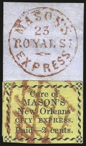 Sale Number 973, Lot Number 294, Local PostsMason's New Orleans City Express, New Orleans La., 2c Black on Yellow (102L2), Mason's New Orleans City Express, New Orleans La., 2c Black on Yellow (102L2)