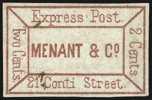 Sale Number 973, Lot Number 295, Local PostsMenant & Co. Express Post, New Orleans La., 2c Dark Red (104L1), Menant & Co. Express Post, New Orleans La., 2c Dark Red (104L1)