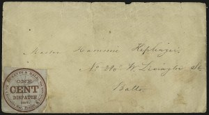 Sale Number 973, Lot Number 297, Local PostsRicketts & Hall, Baltimore Md., 1c Red on Bluish (127L1), Ricketts & Hall, Baltimore Md., 1c Red on Bluish (127L1)