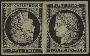Sale Number 973, Lot Number 322, The Jonathan Rose Collection of First Issues of the World (Argentina thru G.B.)FRANCE, 1849, 20c Black on Yellowish, Tête-Bêche Pair (3c), FRANCE, 1849, 20c Black on Yellowish, Tête-Bêche Pair (3c)