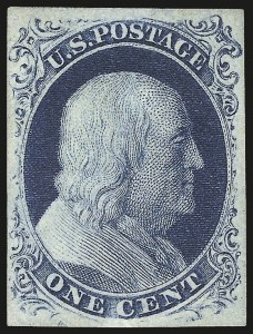 Sale Number 973, Lot Number 33, 1851-56 Issue1c Blue, Ty. III (8), 1c Blue, Ty. III (8)