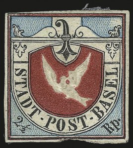 Sale Number 973, Lot Number 349, The Jonathan Rose Collection of First Issues of the World (Switzerland)BASEL, 1845, 2-1/2r Dove of Basel (3L1; Zumstein 8), BASEL, 1845, 2-1/2r Dove of Basel (3L1; Zumstein 8)