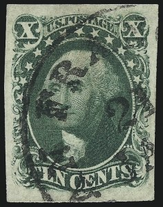 Sale Number 973, Lot Number 44, 1851-56 Issue10c Green, Ty. IV (16), 10c Green, Ty. IV (16)