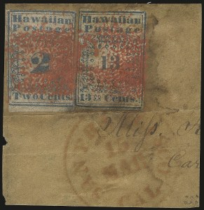 "Sale Number 974, Lot Number 501, Hawaii - The Missionaries1851, 2c Blue (1) and 13c Blue, ""Hawaiian Postage"" (3), 1851, 2c Blue (1) and 13c Blue, ""Hawaiian Postage"" (3)"