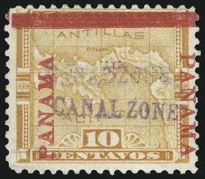 "Sale Number 974, Lot Number 643, Canal Zone (Scott 1 thru 3)1904, 10c Yellow, ""Canal Zone"" Double (3b), 1904, 10c Yellow, ""Canal Zone"" Double (3b)"