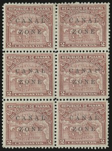 "Sale Number 974, Lot Number 650, Canal Zone (Scott 4 thru 15)1904, 10c Rose, ""L"" of ""Canal"" Sideways (10b), 1904, 10c Rose, ""L"" of ""Canal"" Sideways (10b)"