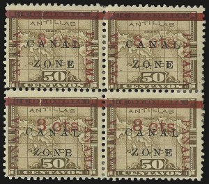 "Sale Number 974, Lot Number 661, Canal Zone (Scott 4 thru 15)1904, 8c on 50c Bister Brown, ""Zone"" in Antique Type (14a), 1904, 8c on 50c Bister Brown, ""Zone"" in Antique Type (14a)"