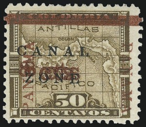"Sale Number 974, Lot Number 666, Canal Zone (Scott 4 thru 15)1904, 8c on 50c Bister Brown, ""Panama"" Ovpt. in Rose Brown, ""8cts"" Double (14f), 1904, 8c on 50c Bister Brown, ""Panama"" Ovpt. in Rose Brown, ""8cts"" Double (14f)"