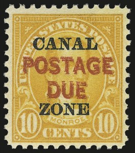 "Sale Number 974, Lot Number 767, Canal Zone (Back of Book, Group Lots)1925, 10c Orange, Postage Due, ""Postage Due"" Double (J17a), 1925, 10c Orange, Postage Due, ""Postage Due"" Double (J17a)"