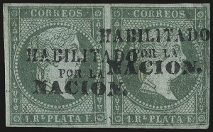Sale Number 974, Lot Number 842, Philippines1873, 1r Green on Bluish (26), 1873, 1r Green on Bluish (26)